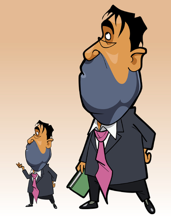 cartoon man in a suit with a folder in his hand standing reflects and looks up