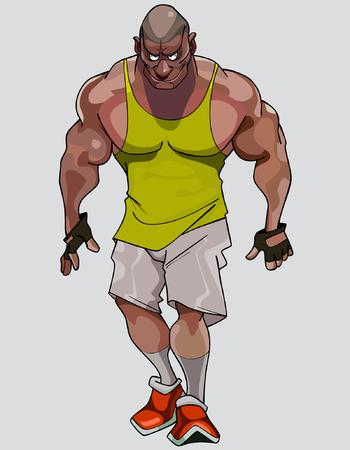 ropa deportiva: muscular hombre formidable de dibujos animados en ropa deportiva Vectores