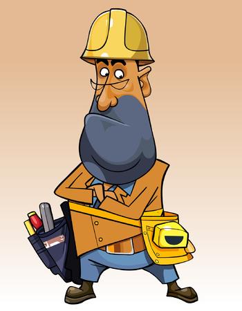 stubble: cartoon man with helmet and tools Illustration