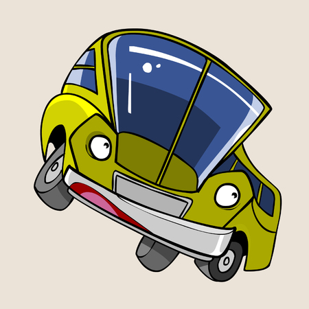 the stands: cartoon character cheerful yellow bus stands sideways Illustration