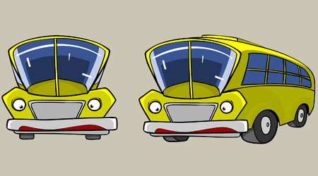 angles: Cartoon Character Yellow Bus in different angles Illustration