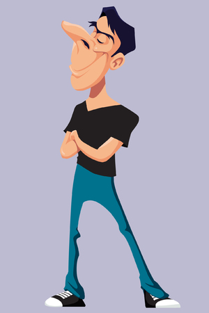 arrogant: cartoon man standing smiling with his arms crossed Illustration