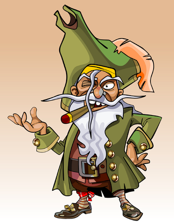 cigar cartoon: dwarf cartoon character pirate with a cigar in his mouth