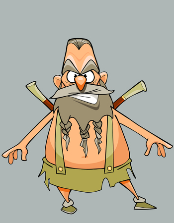 funny cartoon character austere man warrior with a beard and mustache Illustration