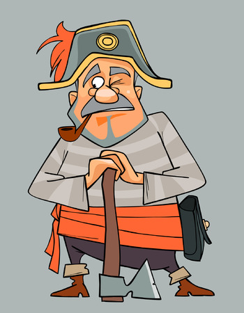 cocked hat: cartoon man in clothes of pirate with an ax