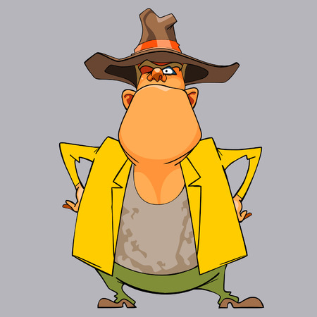 akimbo: cartoon funny man sheriff in a hat standing arms akimbo Illustration