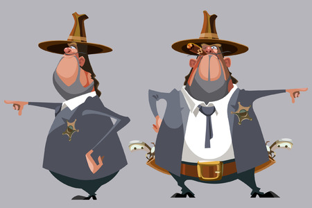 man looking out: cartoon man sheriff in a hat stands in front and side