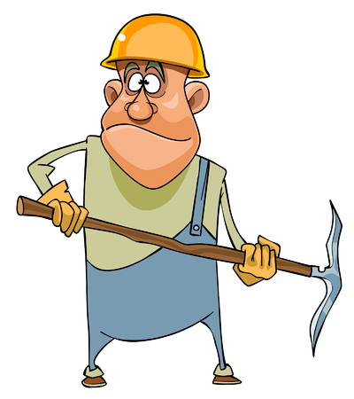 Cartoon man working in a helmet and with pick Illustration