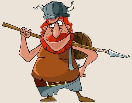 uomo rosso: cartoni animati viking uomo rosso con un'arma Vettoriali