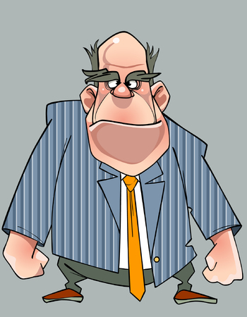 disgruntled: cartoon disgruntled man in a suit standing with fists Illustration