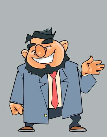 bossy: cartoon laughing bearded man in a suit with a tie
