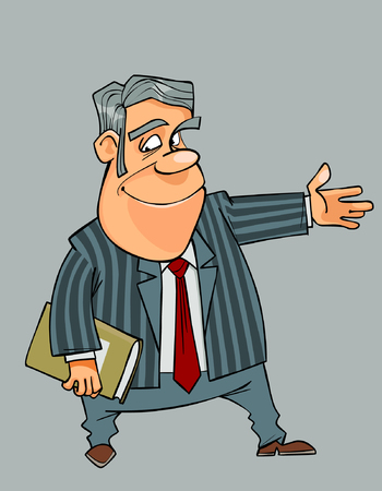 Cartoon smiling man in a suit and tie shows his hand towards Illustration