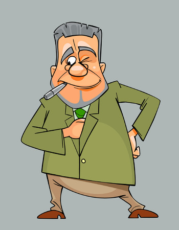 winking cartoon man in suit and tie with a cigarette in his mouth Illustration
