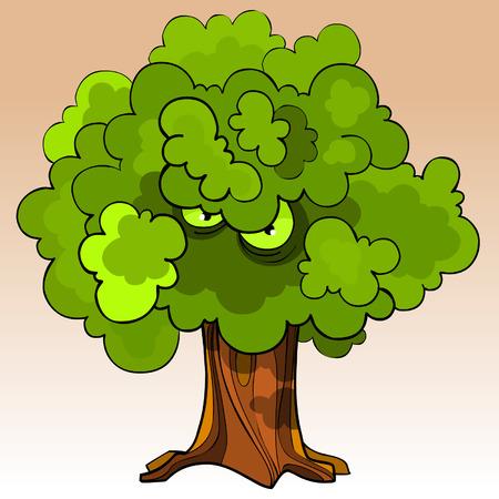 menacing: cartoon menacing tree with eyes in the green foliage