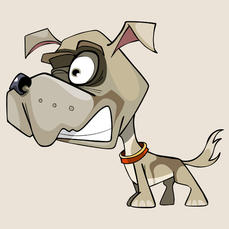 snarling: funny cartoon snarling little dog with a big head