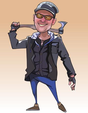 ingeniero caricatura: historieta hombre alegre con un hacha
