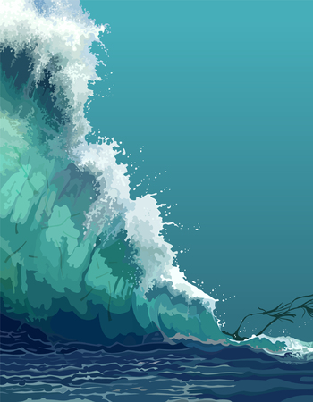 painted backdrop of a giant tsunami wave 矢量图像