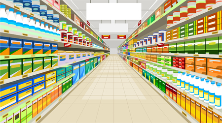 premises: painted commercial premises in the store with racks with goods