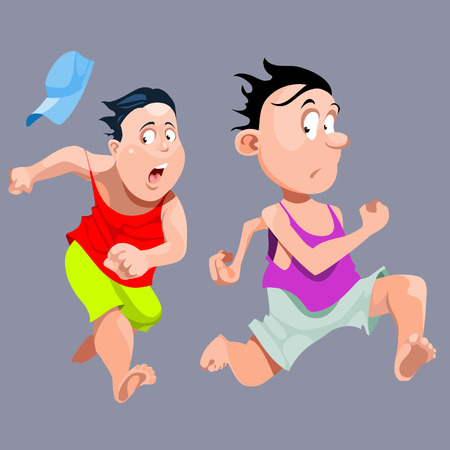 fearful: cartoon people quickly run in fright Illustration