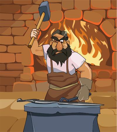 Dessin animé mâle forgeron forge une épée dans la forge Banque d'images - 62271767