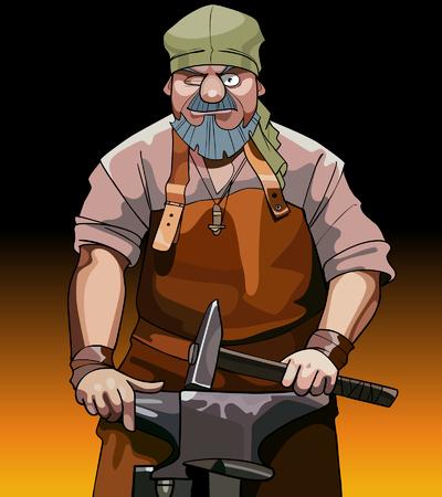 cartoon male blacksmith worker with hammer