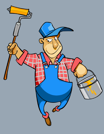 house painter: cartoon male house painter worker in uniform