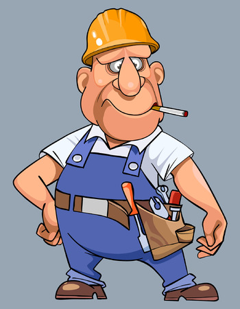 overalls: cartoon man in overalls with tools and helmet