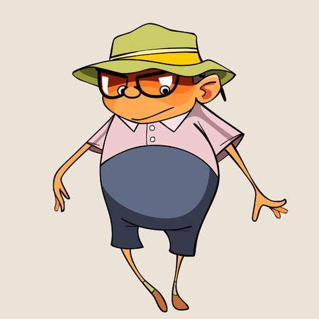 cartoon funny pot-bellied man Illustration