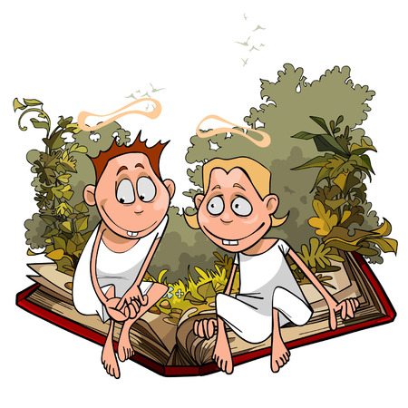 cartoon angels in plants are sitting on a great book Illustration