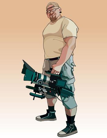 cartoon male videographer with video camera in hand Vektorové ilustrace