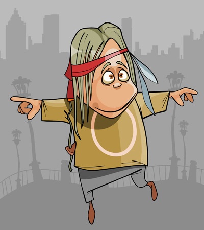 cartoon funny hippie man jumping in the city