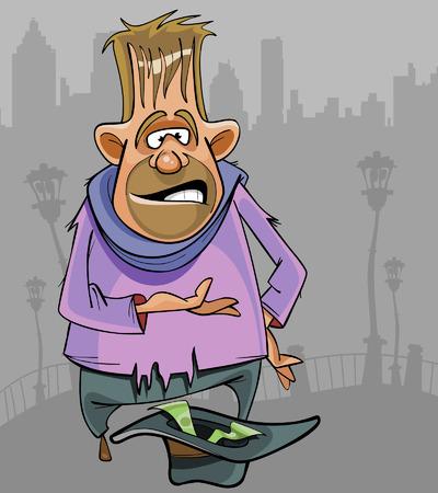 Cartoon Obdachlose für Geld auf der Straße betteln Mann
