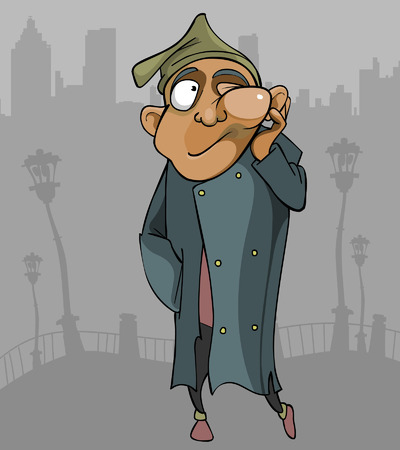 cartoon homeless man with the flux goes through the city
