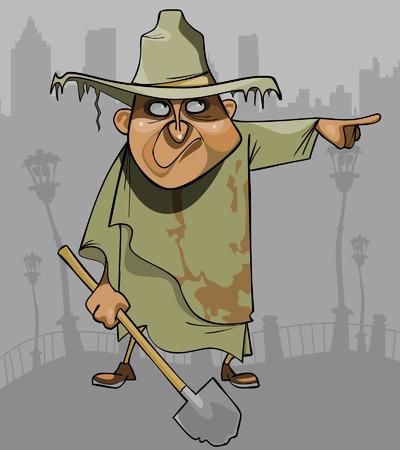 Cartoon-Mann in schmutzigen Lumpen mit einer Schaufel zeigt in die Richtung