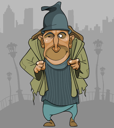 beg: cartoon man in ragged clothes with a backpack in the city