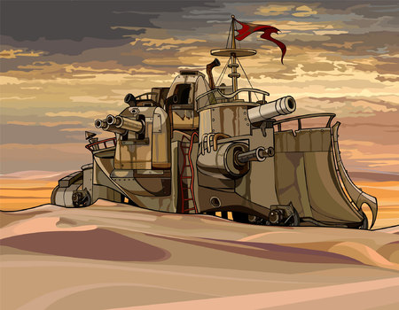 armoured: cartoon fantastic military armored train with guns in the desert Illustration