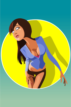 sexy brunette woman: cartoon sexy brunette woman in circle logo Illustration