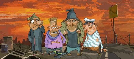 Cartoon lustige obdachlose Männer in zerlumpten Kleidern in Trümmern Vektorgrafik