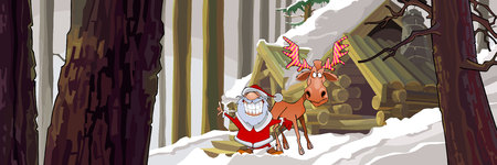 joyous: cartoon joyous Santa Claus standing with a moose in the winter woods near the hut Illustration