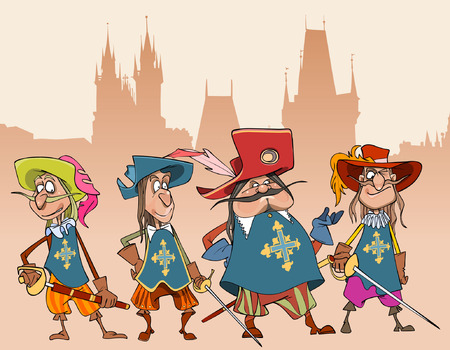 four cartoon funny characters soldiers Musketeers Illustration