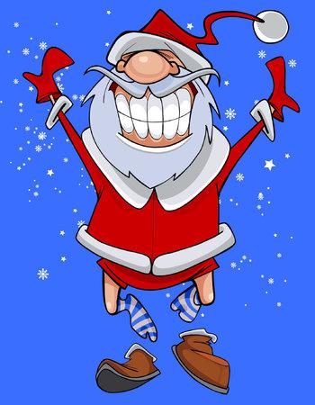 zapatos caricatura: personaje de dibujos animados divertido Papá Noel salta fuera de los zapatos Vectores