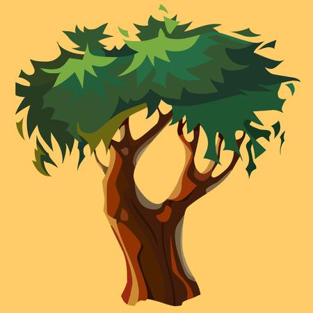 árbol bifurcado de dibujos animados con la corona verde