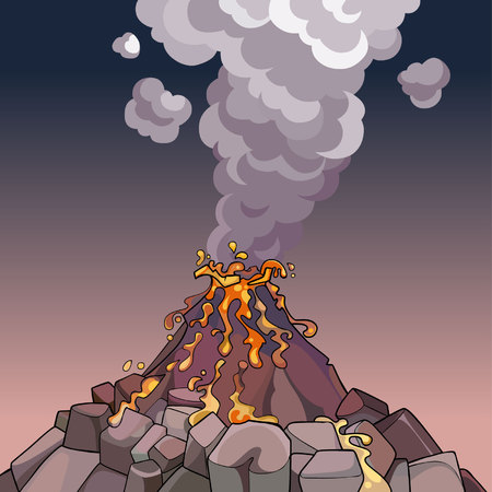 spewing: cartoon volcano spewing lava and smoke Illustration