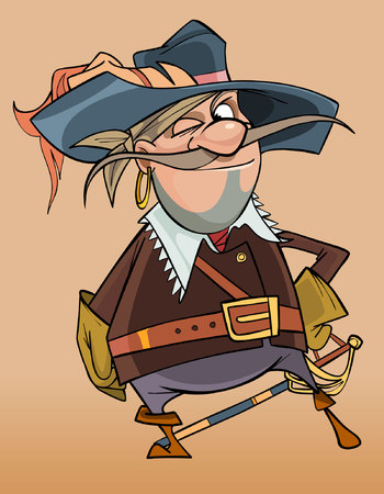 cartoon male pirate in the clothes of a musketeer