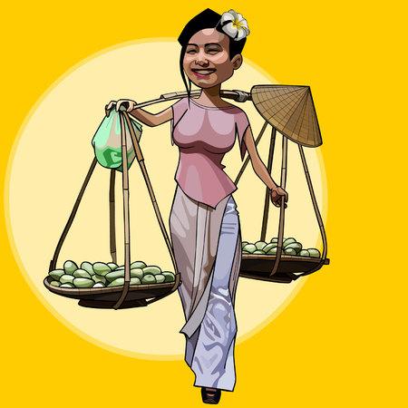 cartoon cheerful Vietnamese woman walks with fruit baskets