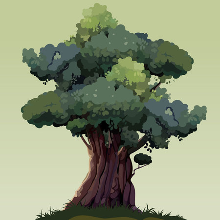 cartoon beautiful tree with green foliage