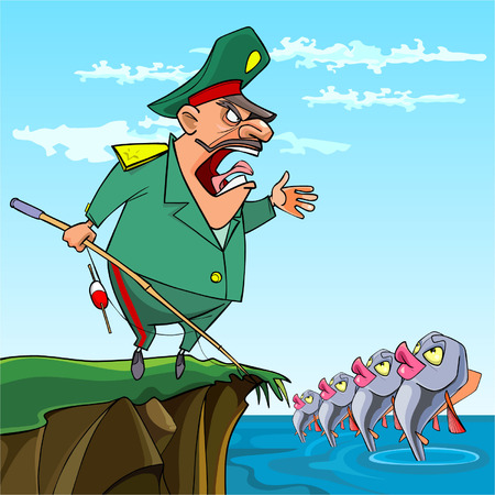 general: cartoon male General fishing commanded the fish Illustration