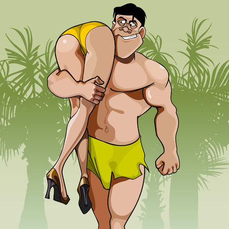 shoulder carrying: cartoon big man carrying woman on shoulder