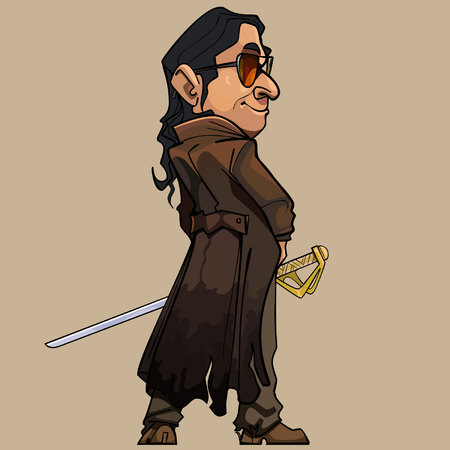 outdated: cartoon modern man in a long coat with a sword