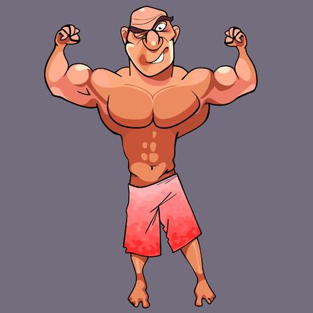 male bodybuilder: cartoon funny athletic male bodybuilder is posing